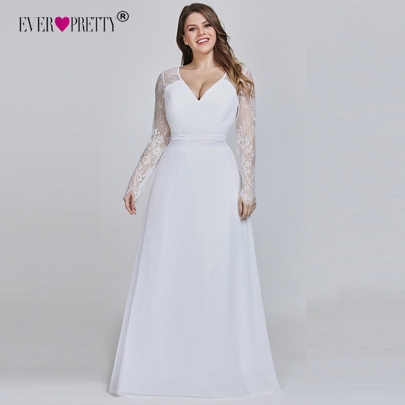 Image 2 - Elegant Plus Size Prom Dresses 2019 New Ever Pretty Purple Long Sleeve Lace A line Chiffon Long Party Gowns Robe De Soiree-in Prom Dresses from Weddings & Events