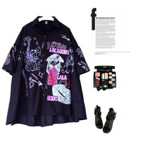Streetwear Cartoon Graffit Print Sequins Shirt Women Summer Flare Sleeve Big Mouth Blouse Plus Size Loose Casual Long Tops Dy028