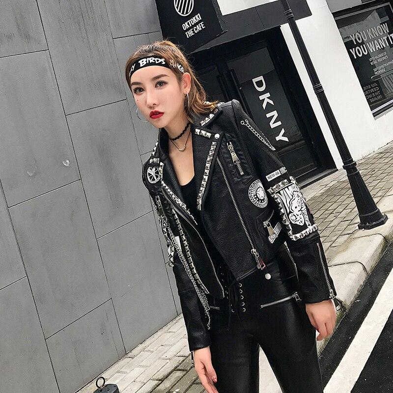 Outwear Noir Automne Court Cuir Mode Nouveau Punk down Lordlds Black Style Printemps Streetwear De Femmes En Turn Vestes Collar Dames U4T1w