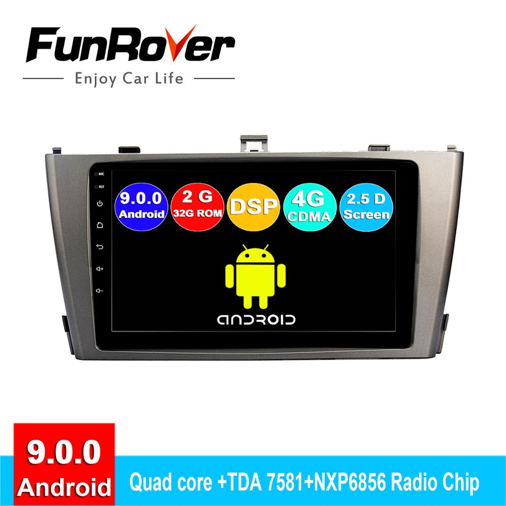 FUNROVER 2din android 9 0 car dvd gps multimedia player For Toyota Avensis  2009-2013 radio navigation navi autoradio 2 5D 4G DSP