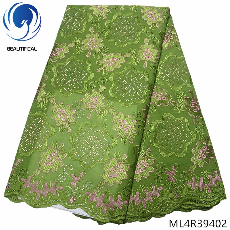 BEAUTIFICAL swiss voile lace fabric 2019 swiss lace green african lace high quality 5yards/lot cotton with rhinestones ML4R394BEAUTIFICAL swiss voile lace fabric 2019 swiss lace green african lace high quality 5yards/lot cotton with rhinestones ML4R394