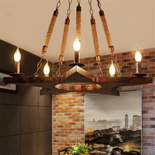 Retro Wood Loft LED Pendant Lights Lighting Living Room Decor Lamp Home Hanging Kitchen Fixtures Luminaire