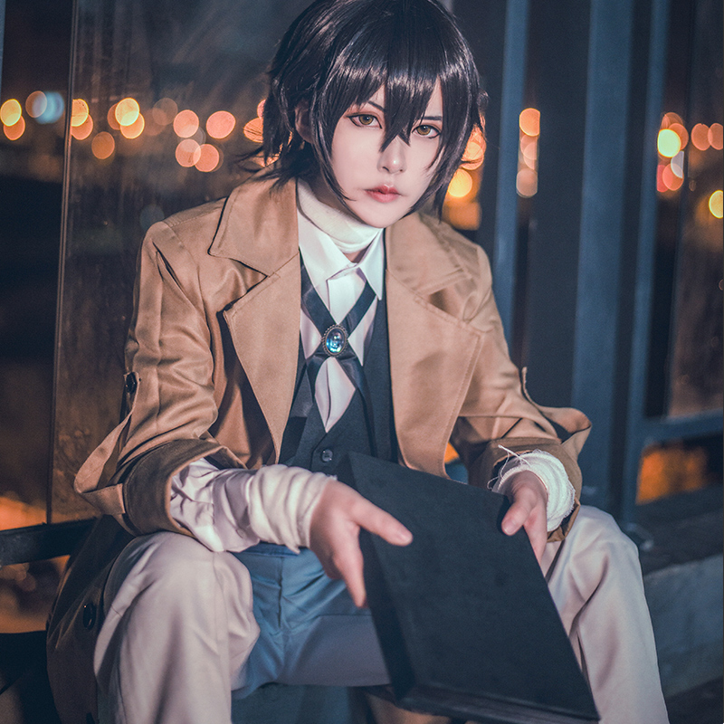 Milky Way Anime Bungo Literary Stray Dogs Dazai Osamu Costume Detective Agency Cosplay Trench Coat Suit Pants Vest Whole Costume
