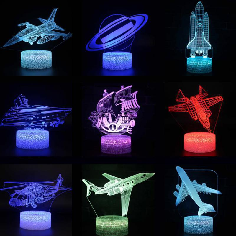 Sailboat Christmas Decorative Lights Remote Touch Switch 7 Color Change 3d Lamp Party Decoration Christmas Gift Children's Toys