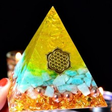 Orgonite Energy Aogan Rune Bring Lucky Pyramid Gathering Fortune Helping Chakra Resin Decorative Craft Jewelry Wicca