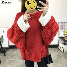 2018 Autumn sweater women pullover knitted knitted top for winter Sweater Leisure bat sleeve loose pullover sweater Female Xnxee