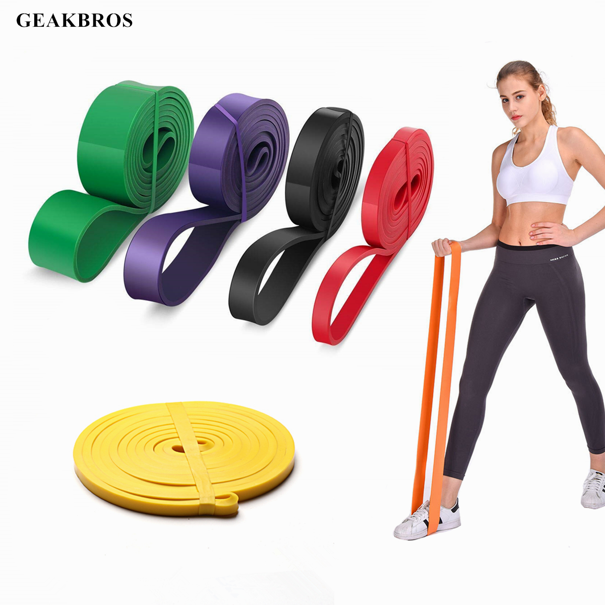 Strong Resistance Bands Loop Heavy Duty Exercise Sport Fitness Gym Yoga Pull UP