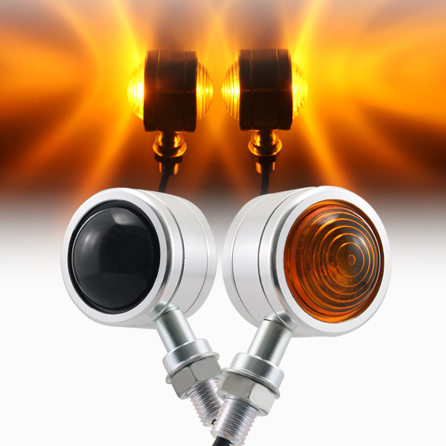 Modified Retro Double-face Two-color Lens Turn Signal Light Amber Light Universal For 10MM Mounting Thread Bolt Motorcycles