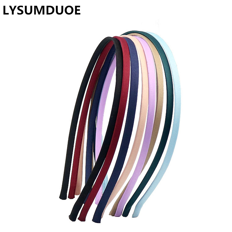 Candy Color Headband Solid Satin Covered Hairbands 10Pcs Alloy Cute Hair Ribbon Hairband DIY Headdress Girls Hair Accessories