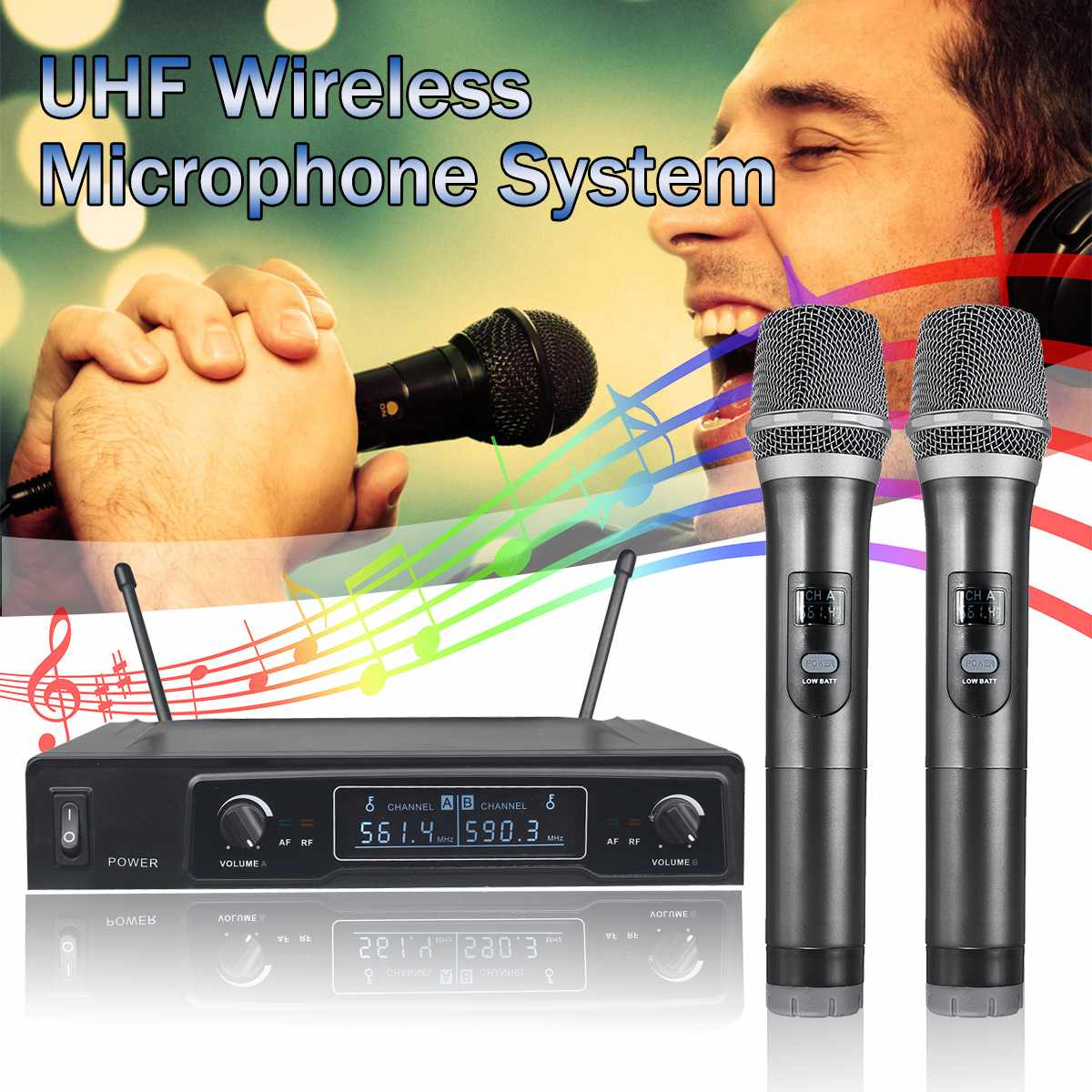 Dual Channel 2 Handheld Wireless UHF Microphone System LCD Display Karaoke Receiver Home KTV Equipment with AntennaDual Channel 2 Handheld Wireless UHF Microphone System LCD Display Karaoke Receiver Home KTV Equipment with Antenna