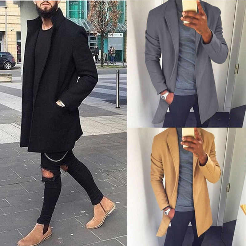 2019 Herfst Winter Mannen Casual Jas Dikker Wollen Trenchcoat Business Man Effen Klassieke Overjas Medium Lange Jassen Tops
