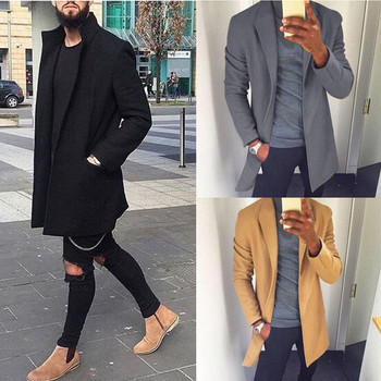 2019 Autumn Winter Men Casual Coat Thicken Woolen Trench Coat Business Male Solid Classic Overcoat Medium Long Jackets Tops