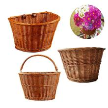 Fashion Beautiful Hand-woven Wicker Front Handlebar Bike Basket Cargo Sturdy And Durable Bicycle Literary Style