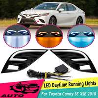 Car Front LED DRL 12v Daytime Running Light Fog Light Lamp Replacement White Yellow Blue for Toyota Camry SE XSE 2018 Styling