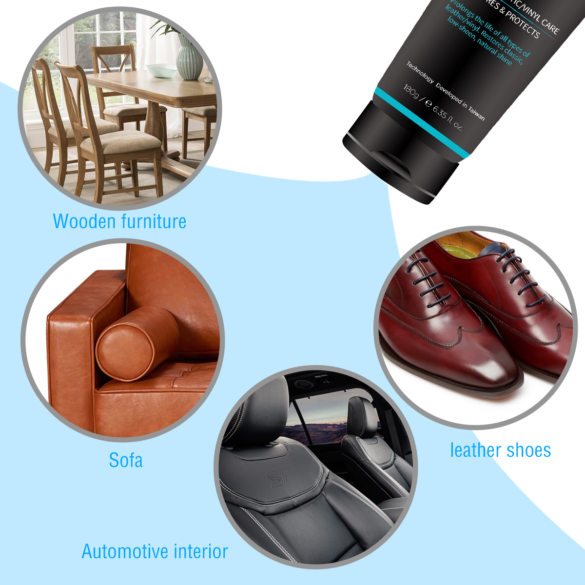 Image 5 - Auto interior Advanced care Leather Moisturizing protectant Essence For Car Interiors/Furniture +12pcs Soft Waxing Foam Sponge-in Leather & Upholstery Cleaner from Automobiles & Motorcycles