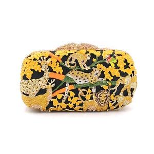 Image 3 - Porte monnaie en cristal pour femmes pour fête de mariage, sac de soirée de luxe, diamants, mode animal de la jungle, pochette en cristal