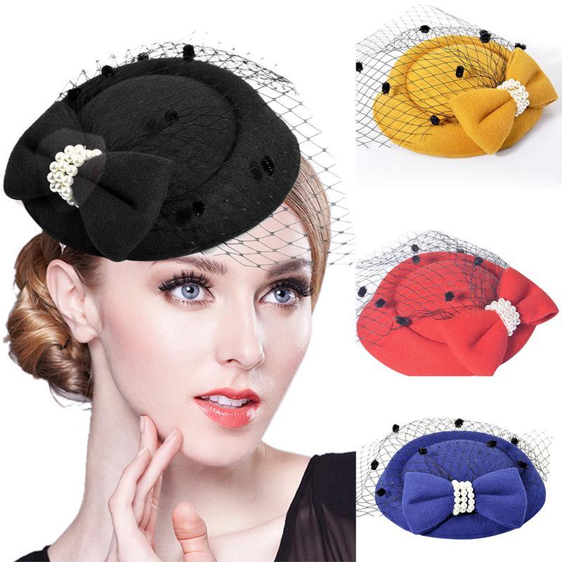 Elegant Fascinators Black Red Wedding Bride Headwear For Women Mesh Veil Vintage Ladies Church Dress Decor Sinamay Derby Hats