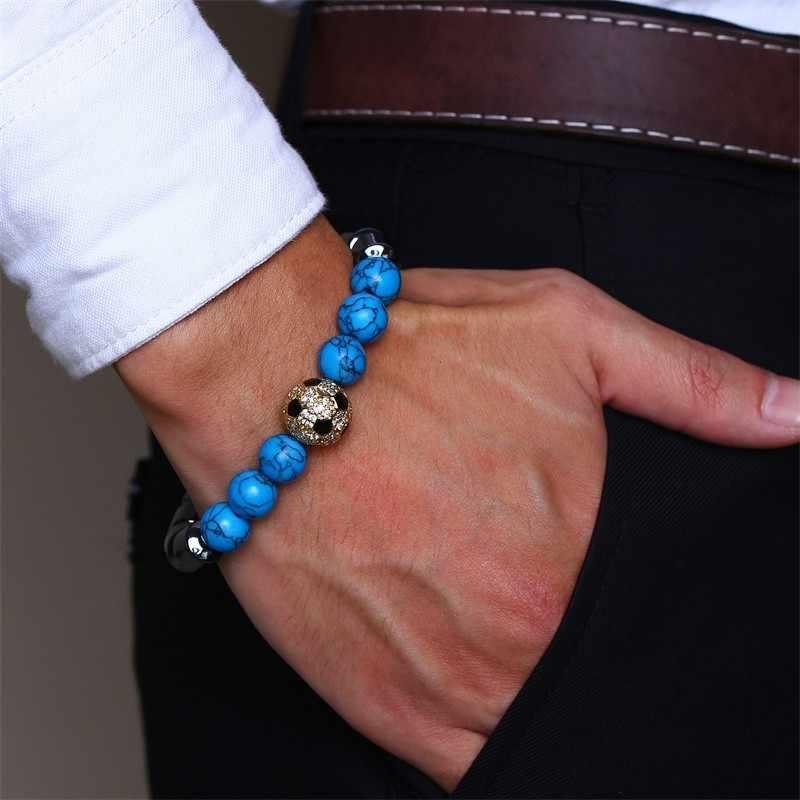 ลูกปัดไม้ชาย Hematite สร้อยข้อมือสีฟ้าธรรมชาติหิน Lave ลูกปัดกำไลข้อมือ Charm ชายของขวัญ