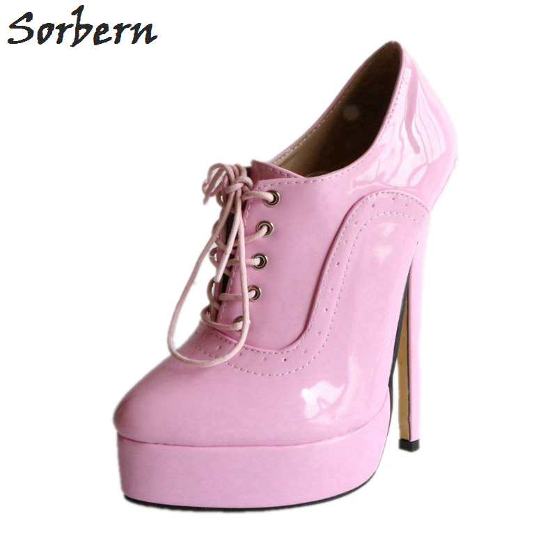 Sorbern Pink Shiny Lace-Up Women Pumps 18Cm Heel Shoes Ladies High Heel Shoes 43 Candy Shoes Cross Dressing Pump Shoes FemalesSorbern Pink Shiny Lace-Up Women Pumps 18Cm Heel Shoes Ladies High Heel Shoes 43 Candy Shoes Cross Dressing Pump Shoes Females