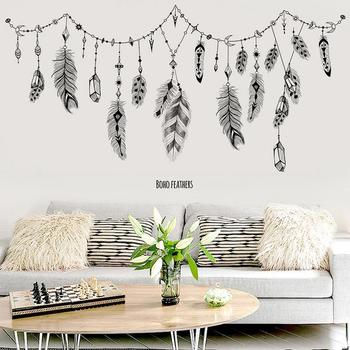 2019 Lucky Dream Catcher Feathers Wall Sticker Living Room Mural Art Vinyl Decals Home Decor Feather Dreamlike Wall Stickers 1