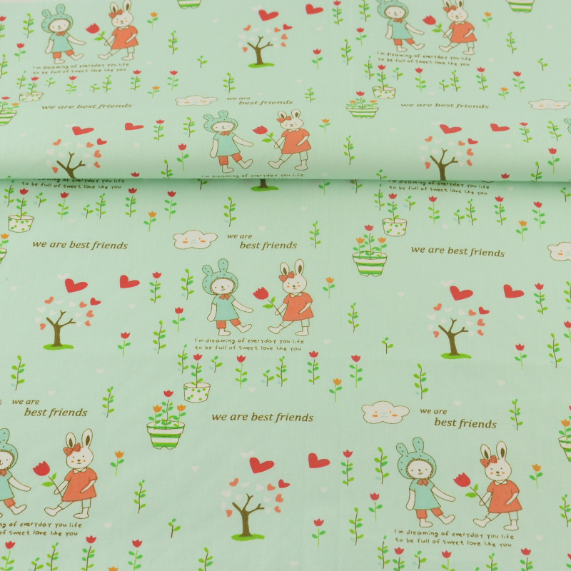 Light Green Home Textle Cotton Fabric Sewing Cloth We Are Best Friends Designs Scrapbooking Bedding Quilting Patchwork Twill
