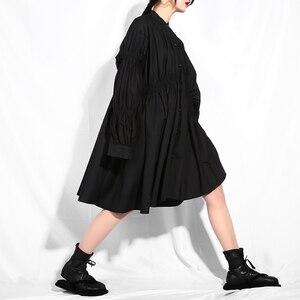 Image 5 - [EAM] 2020 nouveau printemps automne col montant à manches longues noir plissé pli point irrégulière grande taille robe femmes mode marée JO47