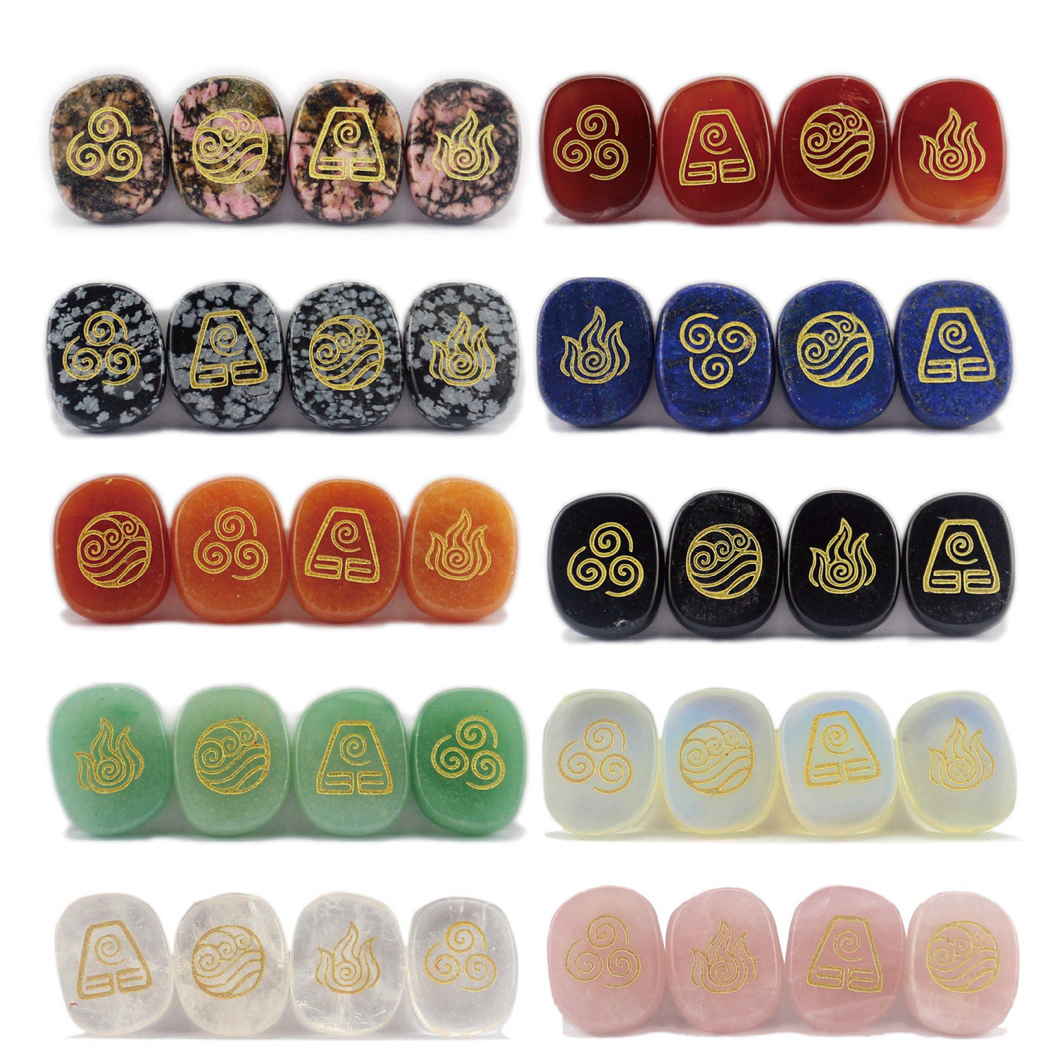 Crystal Sculpture Fire Air Water Earth Four-element Rune Aura Divination Stone Jewelry Decoration