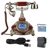 antique 8675C Wireless European Retro Card Telephone Classical Wood Color US 110 240V telephone portable