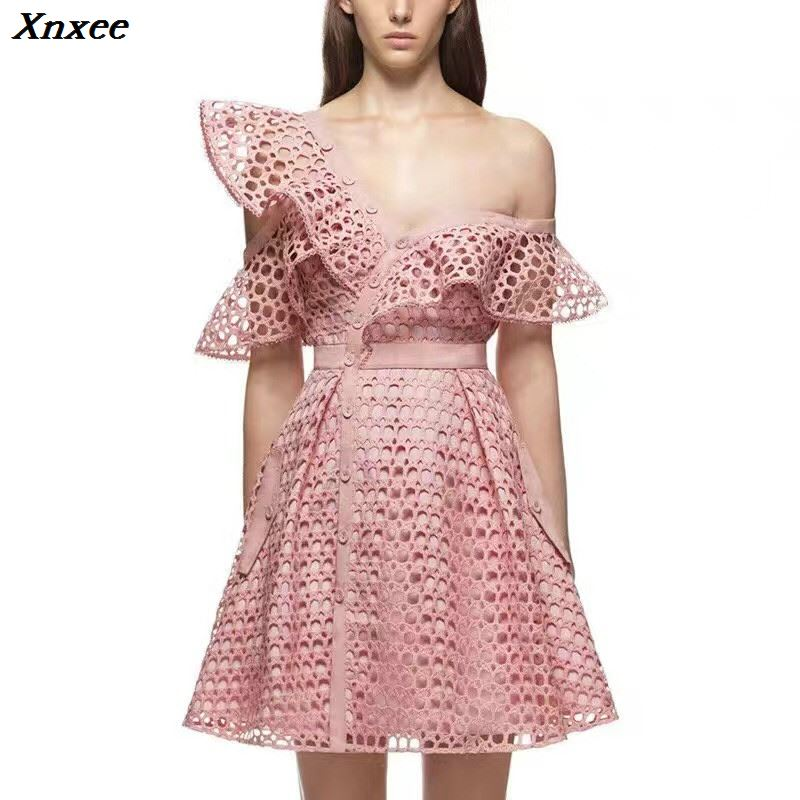 Xnxee 2019 Summer Self Portrait Runway Hollow Out Lace Flounces Dress Women Sexy V-Neck Mini