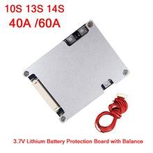 لوح حماية بطارية ليثيوم 10S 13S 14S 36 فولت 48 فولت 40A 60A مع توازن خلايا ليثيوم أيون 3.7 فولت BMS للدراجة الكهربائية