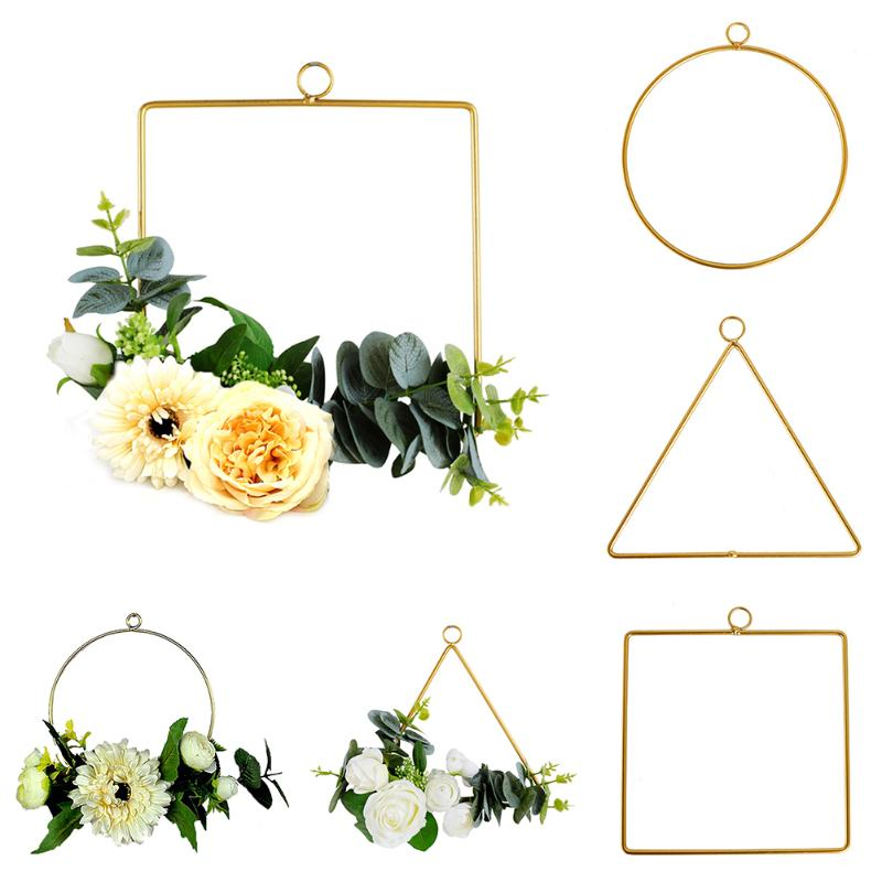 Nordic Style Wall Hanging Wrought Iron Shelf Flower Plant Vase Artificial Flower Stand Holder Hanger DIY Home Decor Supplies
