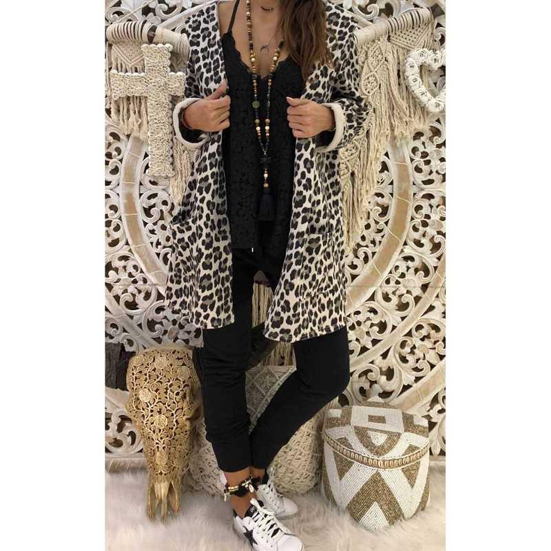 Bayan Leopar Kapşonlu Uzun Ceket Ön Cep Uzun Yarasa Kollu Hırka Gevşek Dış Giyim Siper