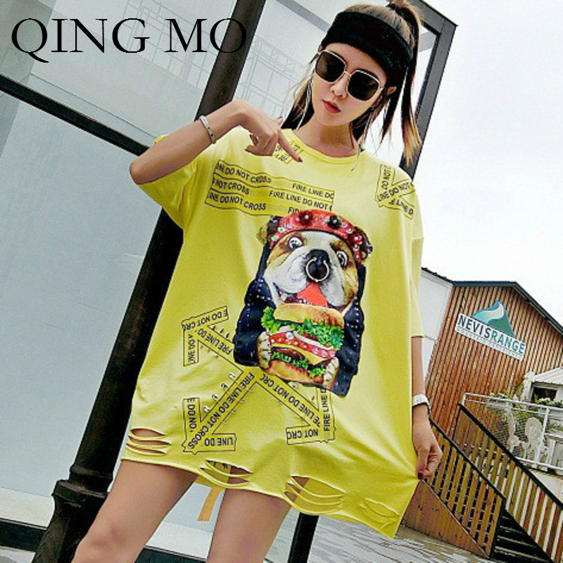 QING MO Appliques Shirt for Women 2018 Letters Print Top Tees Hollow Out Beading T Shirt Dog Pattern Shirt with Sequin AD1883A