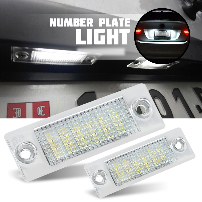2x License Number Plate Light Lamp 18-LED For VW Caddy Transporter T5 Passat Golf Touran Jetta For Skoda