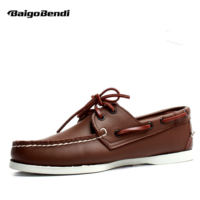 Classical Men Full Grain Leather Four Season Casual Boat Shoes Lace Up Car Loafers Plus Size 11 12 Man Leather Oxfords