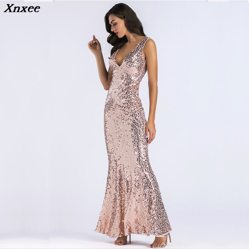 Xnxee sexy summer womens clothing gold sequin dress glitter dresses jurken vestidos mujer long dress robes femme woman clothes in Dresses from Women 39 s Clothing