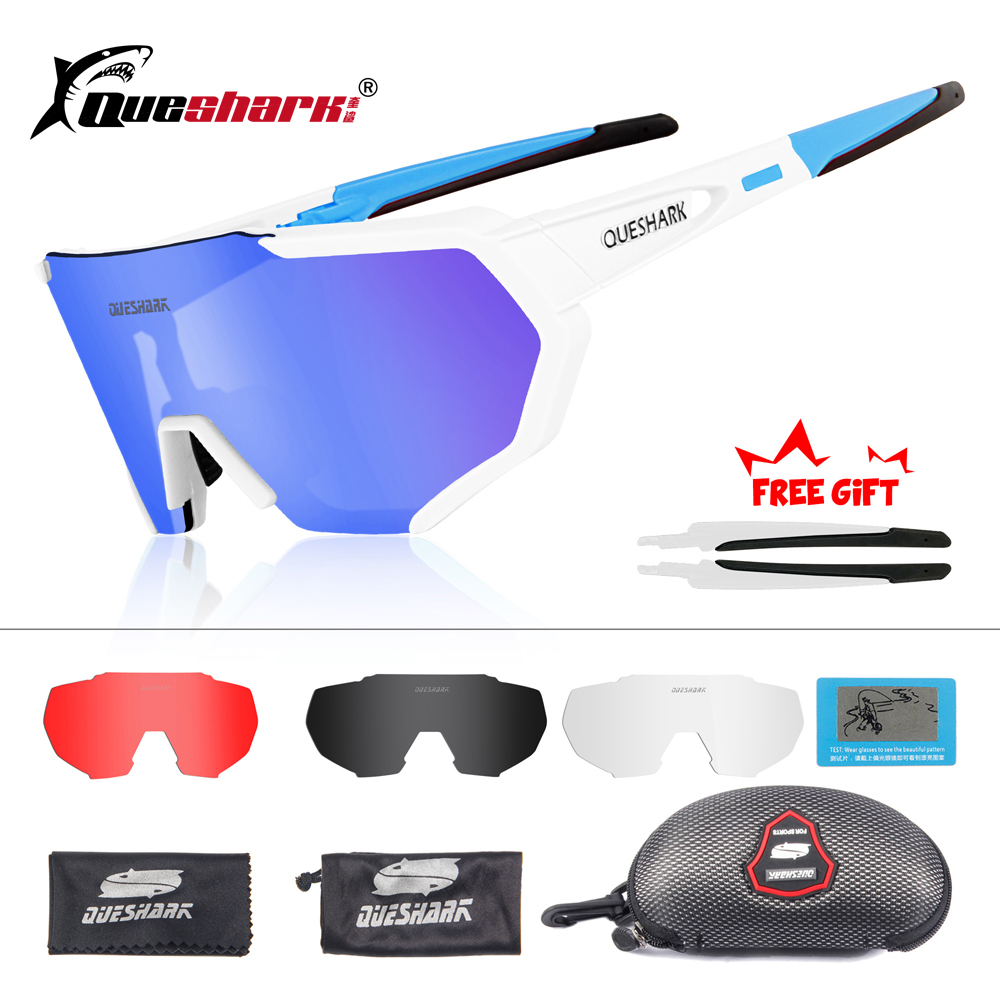 QUESHARK 2019 New Design Polarized Cycling Glasses For Man Women Bike Eyewear Cycling Sunglasses 4 Lens Mirrored UV400 Goggles okulary wojskowe