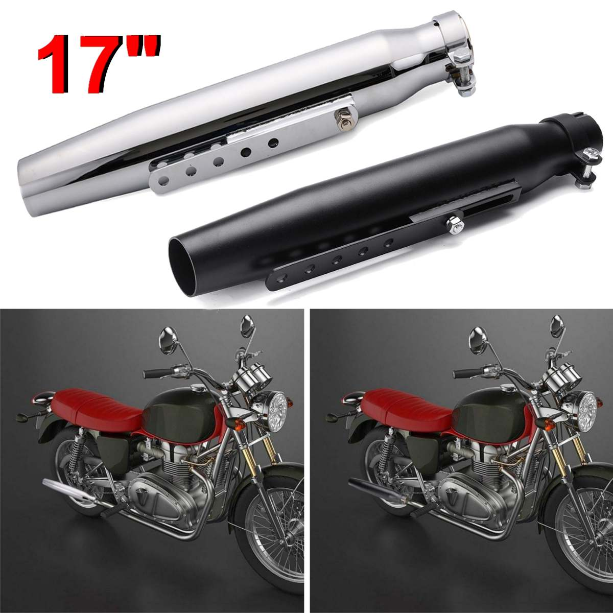 Universal Motorcycle Exhaust Pipe Muffler Exhaust Tip Tail Pipe Tube For Harley Cafe Racer Bobber