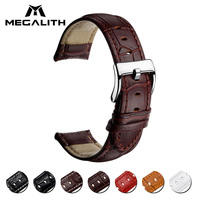 MEGALITH 16mm 18mm 20mm 22mm Watch Bracelet Belt For Men Women Watchbands Genuine Leather Strap Watch Band Accessories Wristband
