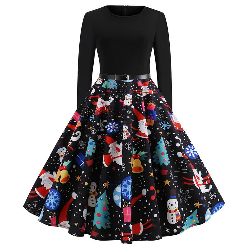 Europe And America Style Women Casual Plus Size New Christmas Printing Long Sleeve Flare Dress For Female Size S-2XL