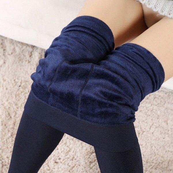 Women Heat Fleece Winter Stretchy Leggings Warm Fleece Lined Slim Thermal Pants H9
