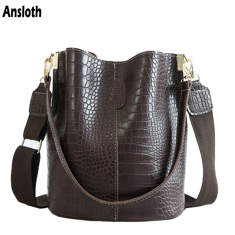 Ansloth Crocodile Grain Women Bag New 2019 Crossbody Bag For Women Shoulder Bags Vintage Bucket Bag Retro Messenger Bag HPS405(China)