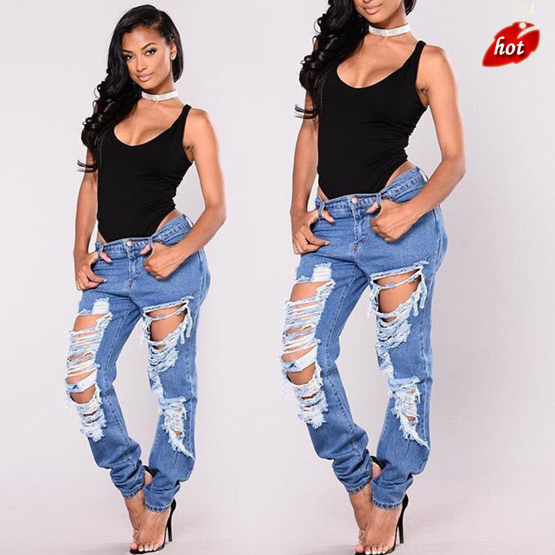 2018 Fashion Women Hole High Waist Skinny Tight Long   Jeans   Pencil Stretch Denim Pants Ripped Sexy Casual Pants Female O8R2