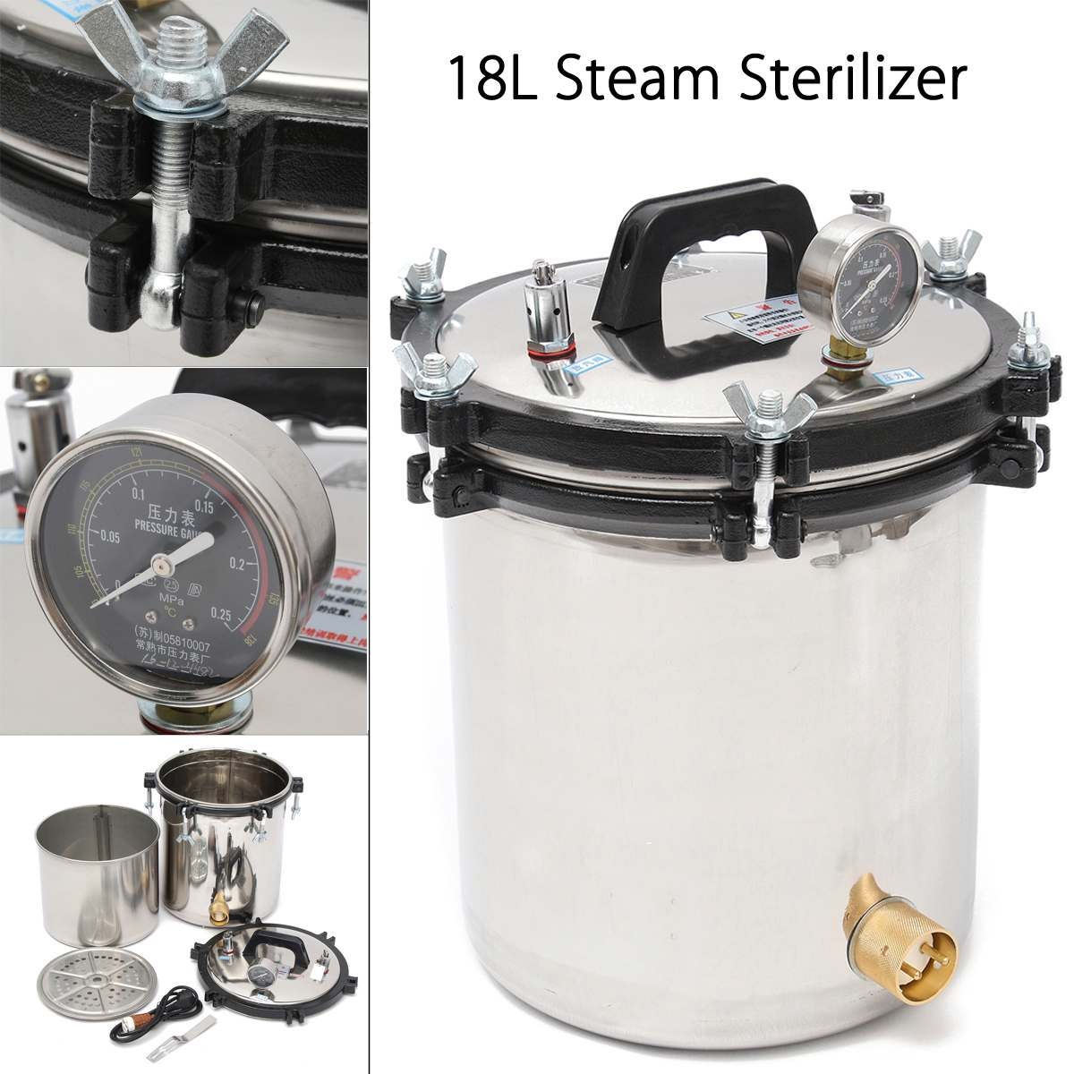 220V 18L Stainless Steam Medical Steam Sterilizer Autoclave Sterilizer Stainless Steel Dual Heating Disinfect Equipment for Lab220V 18L Stainless Steam Medical Steam Sterilizer Autoclave Sterilizer Stainless Steel Dual Heating Disinfect Equipment for Lab