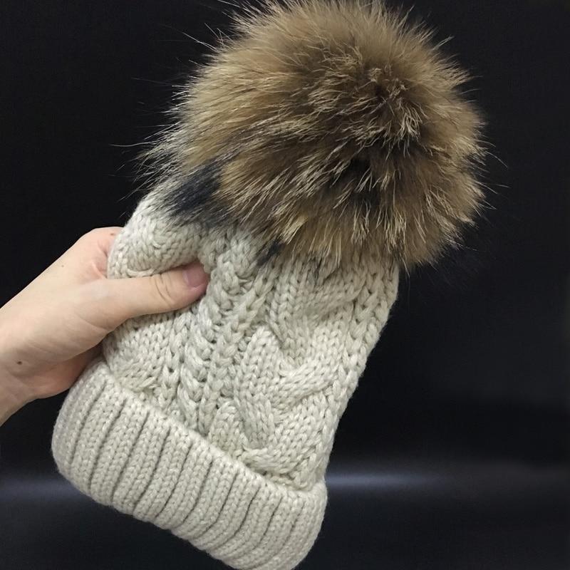2019 Skullies Beanies Winter Hat For Women Warm Hat Fashion Brand Knitting Warm Cap 18cm fur pompom Hat Cap Leisure Fashion hats