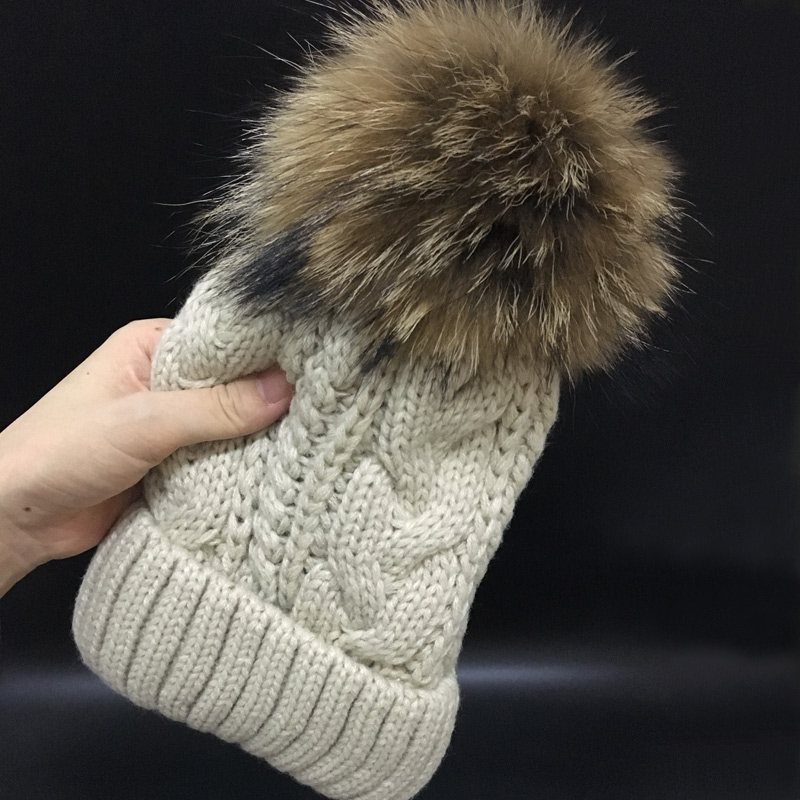 2019   Skullies     Beanies   Winter Hat For Women Warm Hat Fashion Brand Knitting Warm Cap 18cm fur pompom Hat Cap Leisure Fashion hats