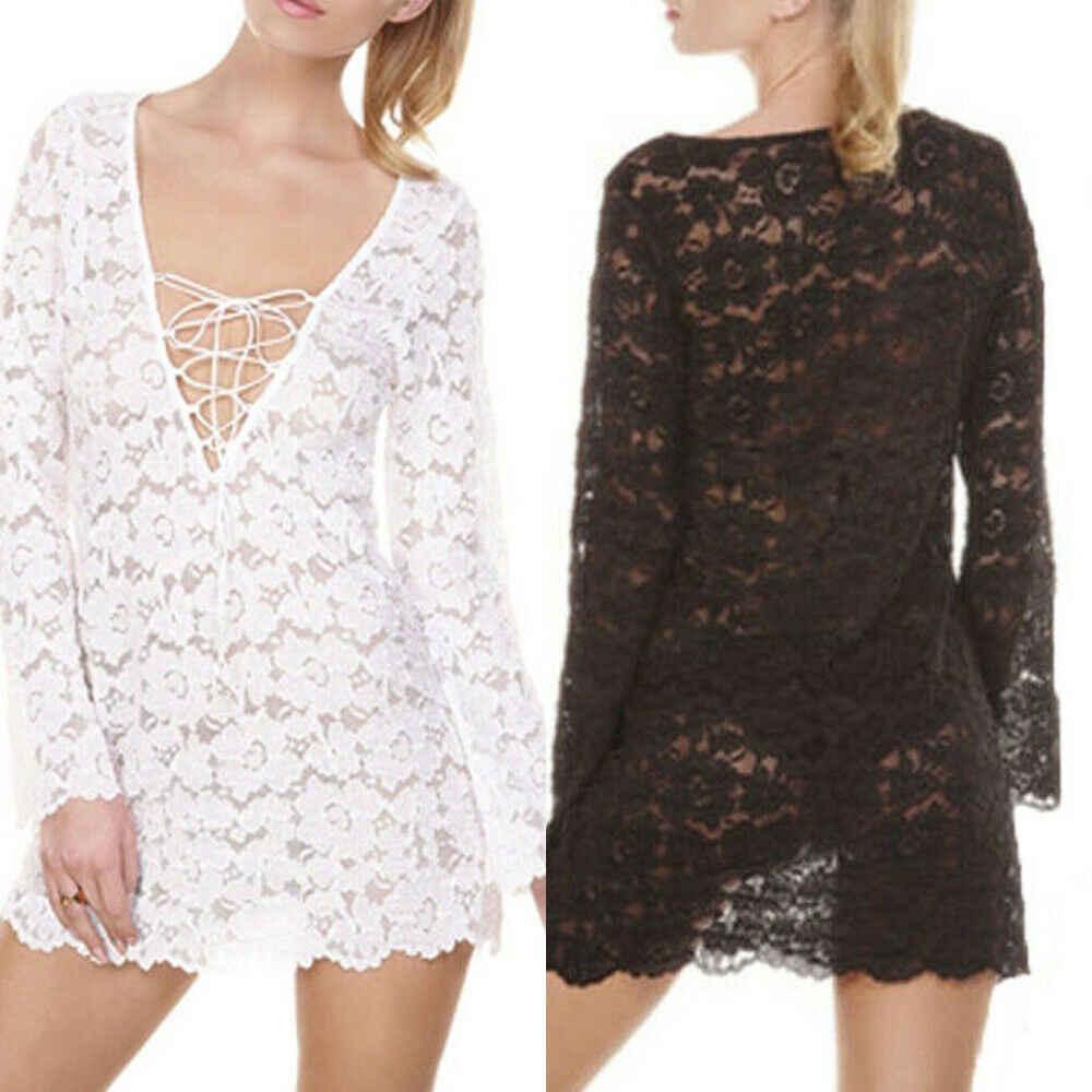 2019 Baru Musim Panas Wanita Baju Renda Crochet Gaun Baju Renang Cover Kasual Pantai Gaun