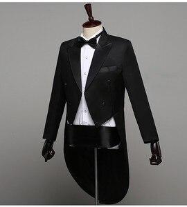 Image 4 - Мужской классический смокинг, черный блестящий пиджак с лацканами и хвостом, свадебный смокинг, сценический певец, костюм из 2 предметов, пиджак с хвостом