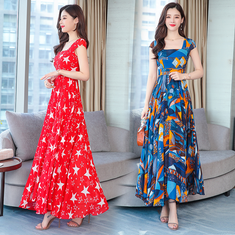 2019 new spring summer women dress Korean style fashion printed chiffon beach dress women elegant square collar slim maxi dress
