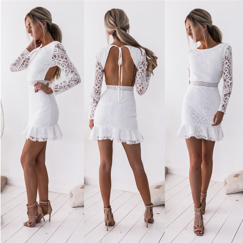 Fashion Women Bodycon Women <font><b>Sexy</b></font> Long Sleeve <font><b>Backless</b></font> <font><b>Lace</b></font> <font><b>Dress</b></font> Cascading Contrast Ruffles Floral Mini Party <font><b>Hollow</b></font> out <font><b>Dress</b></font> image